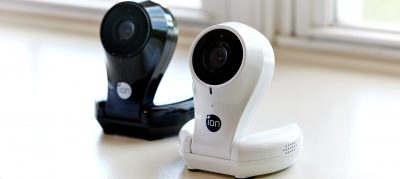 two home security cameras